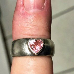 Jewelry - Silver Band Ring with Pink Tourmaline Heart